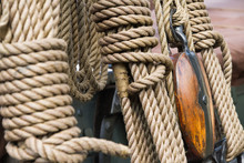 Rigging On A Historical Dutch Sailing Boat, Docked In Gouda, The Netherlands, During The Annual Harbour Days 2010.