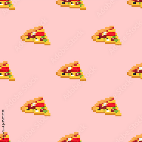 Pizza pixel art pattern seamless. Fast food 8bit background. Video game Old school digital graphics ornament