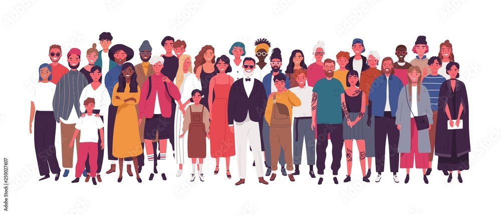 Fototapety, obrazy: Diverse multiethnic or multinational group of people isolated on white background. Elderly and young men, women and kids standing together. Society or population. Flat cartoon vector illustration.