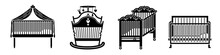 Crib Icons Set. Simple Set Of Crib Vector Icons For Web Design On White Background