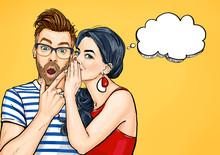 Gossip Couple. Amazed Man And ...
