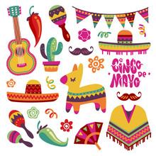 Mexican Fiesta Set. Cinco De Mayo Party Elements Sombrero, Pinata And Chili Pepper, Guitar Vector Collection. Mexican Party And Mexico Sombrero, Fiesta And Cinco De Mayo Illustration