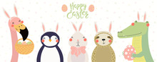 Hand Drawn Vector Illustration Of A Cute Flamingo, Crocodile, Bunny, Penguin, Sloth, Text Happy Easter. Isolated Objects On White Background. Scandinavian Style Flat Design. Concept Kids Print, Card.
