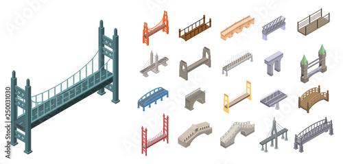 Bridges icons set. Isometric set of bridges vector icons for web design isolated on white background