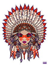 Girl In Native American Traditional Headdress With Feathers Retro Vector Illustration. Isolated Image On White Background