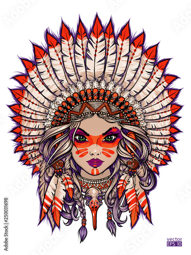 276353d5c Girl in Native American traditional headdress with feathers retro vector  illustration. Isolated image on white background