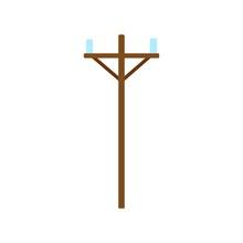 Wood Power Line Icon. Power Li...