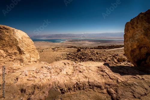 Staande foto Bleke violet rocks in the desert, Metzada view, Israel
