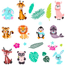 Big Set Isolated Animals. Vect...
