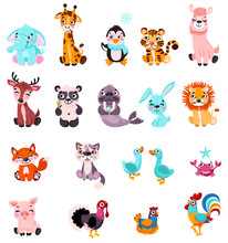 Big Set Isolated Animals And B...
