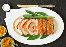 Fried Pork Loin Stuffed With Carrots And Garlic. Festive Dish.