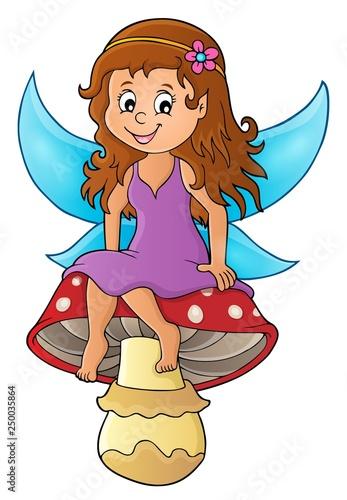 Fotobehang Voor kinderen Fairy sitting on mushroom theme 1