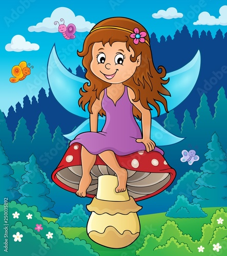 Fotobehang Voor kinderen Fairy sitting on mushroom theme 2