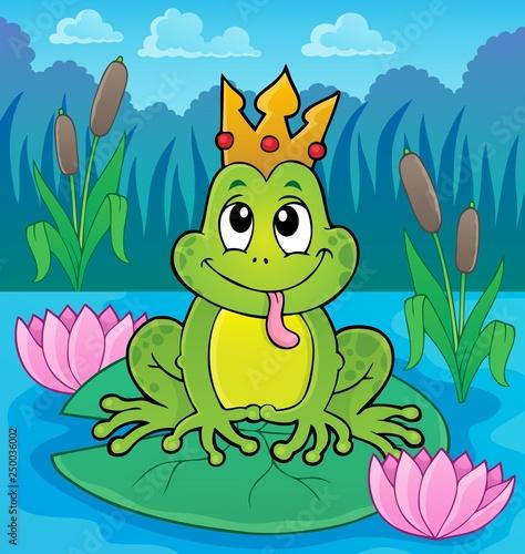 Fotobehang Voor kinderen Frog with crown theme image 4