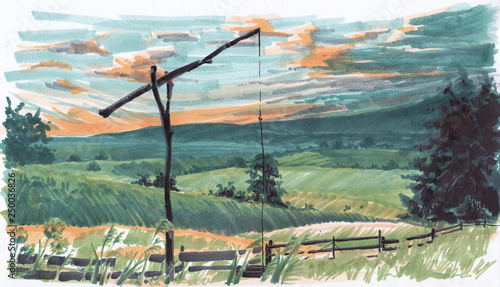 Fotobehang Olijf Landscape with a shadoof. Sketch markers.