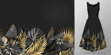 Hand Drawn Realistic Branches And Leaves Of Tropical Plants. Vivid Line Horizontal Leaves Pattern. Gold Black Seamless Border On Dress Mockup.
