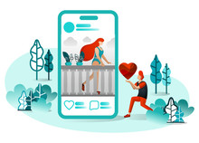 Vector Illustration Of Long Distance Romance, Romeo Juliet 4.0, Social Media, Technology, Second Century Love, Website, UI. Man Want To Give Love / Heart His Girlfriend's Post. Flat Cartoon Character