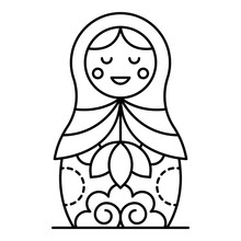 Russian Nesting Girl Icon. Out...