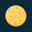 Moon in flat design style.