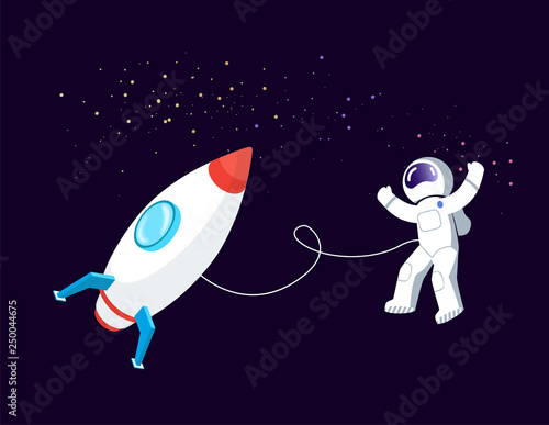 Photographie Rocket space vector, astronaut floating in cosmos with spaceship