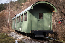 Old Freight Train Containers With Narrow Gauge Railway Track