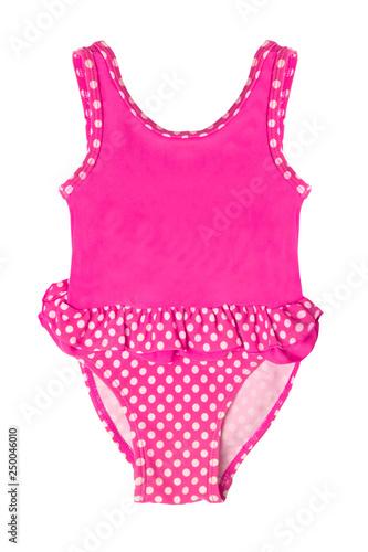 Obraz Pink childrens swimsuit isolated on white background - fototapety do salonu