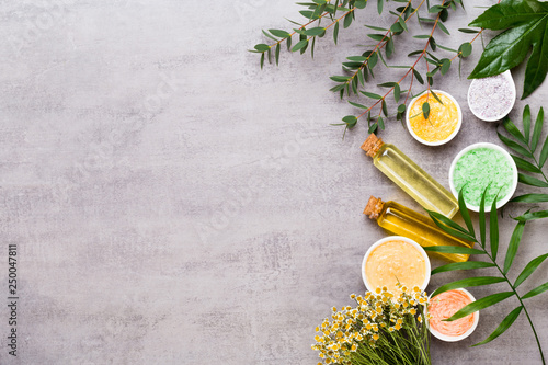 Fotomural Beauty and fashion concept with spa set on pastel rustic wooden background