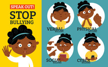 Stop Bullying In The School. 4 Types Of Bullying: Verbal, Social, Physical, Cyberbullying. Cartoon Vector Illustration-24