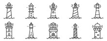 Lighthouse Icons Set. Outline ...