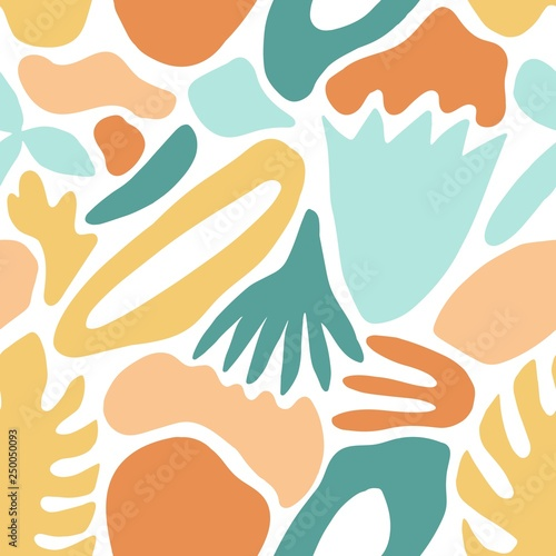 Poster Artificiel Modern abstract seamless pattern with natural colorful shapes, blots or stains on white background. Vivid vector illustration in flat style for wrapping paper, wallpaper, fabric print, backdrop.