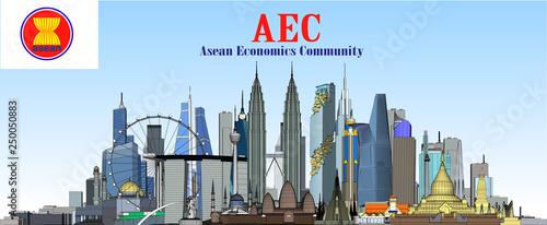 Foto  Vector city in ASEAN