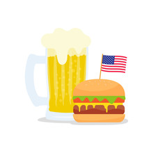 Fast Food Banner With American Flag And Hamburger With Beer