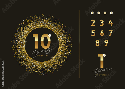 Fotografering Anniversary golden logo with glitter gold frame