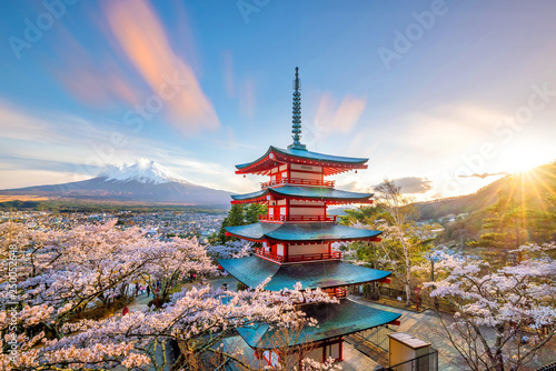 Fotografie, Obraz  Mountain Fuji and Chureito red pagoda with cherry blossom sakura