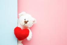 Smiling White Teddy Bear Holdi...