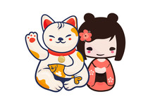 Anime Manga Styled Vector Illustration: Kawaii Japanese Teen Girl And Maneki Neko Lucky Cat Isolated. Cute Kokeshi Doll And Maneki Neko Beckoning Kitty As A Charm Symbol Of Luck And Japan.