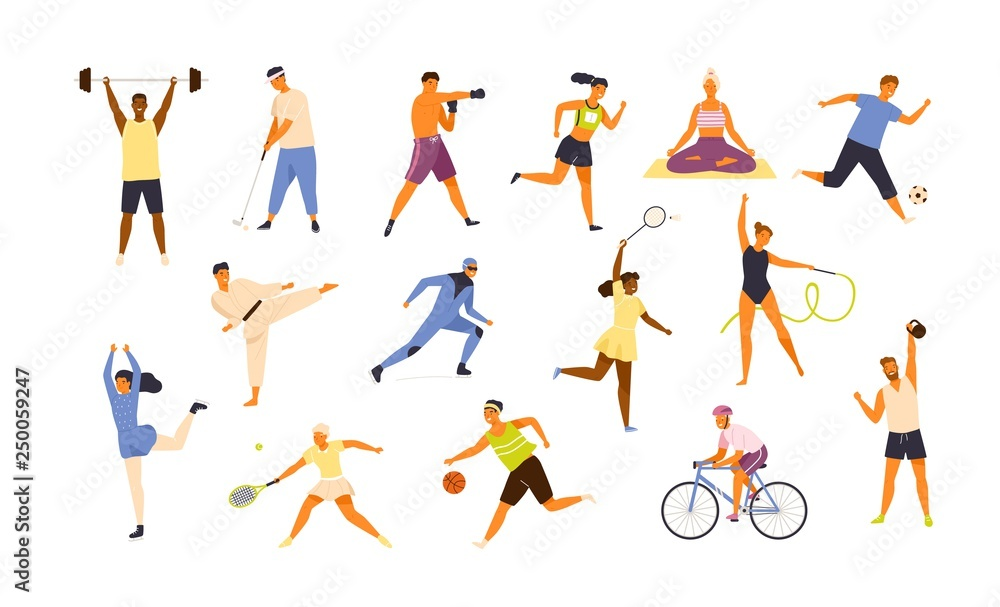 Fototapeta Collection of cute funny men and women performing various sports activities. Bundle of happy training or exercising people isolated on white background. Vector illustration in flat cartoon style.
