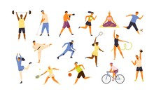 Collection Of Cute Funny Men And Women Performing Various Sports Activities. Bundle Of Happy Training Or Exercising People Isolated On White Background. Vector Illustration In Flat Cartoon Style.