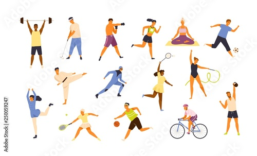 Fototapeta Collection of cute funny men and women performing various sports activities. Bundle of happy training or exercising people isolated on white background. Vector illustration in flat cartoon style. obraz