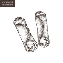 Hand Drawn Cannoli Illustratio...