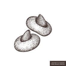 Hand Drawn Amaretti Biscuits Illustration. Vector Drawing Of Italian Desserts - Almond Cookies On White Background. Vintage Food Sketch For Cafe Or Restaurant Menu Design.