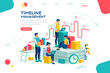 Document management, team thinking, brainstorming analytics information about company. Clock always at office. Around infographic flying presentation history timeline concept. Flat isometric character