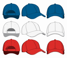 Set Of Baseball Caps, Front, B...