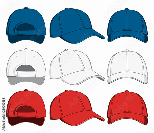 Valokuvatapetti Set of baseball caps, front, back and side view