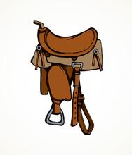 Saddle. Vector Drawing