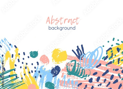 Horizontal Background Decorated By Colorful Chaotic Paint