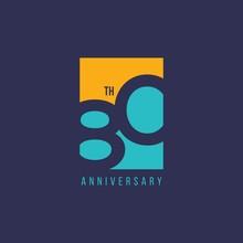 80 Year Anniversary Vector Template Design Illustration