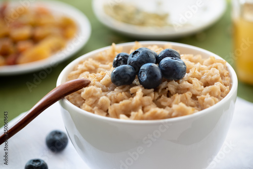 Oatmeal With Blueberries In A White Bowl Healthy Breakfast Buy