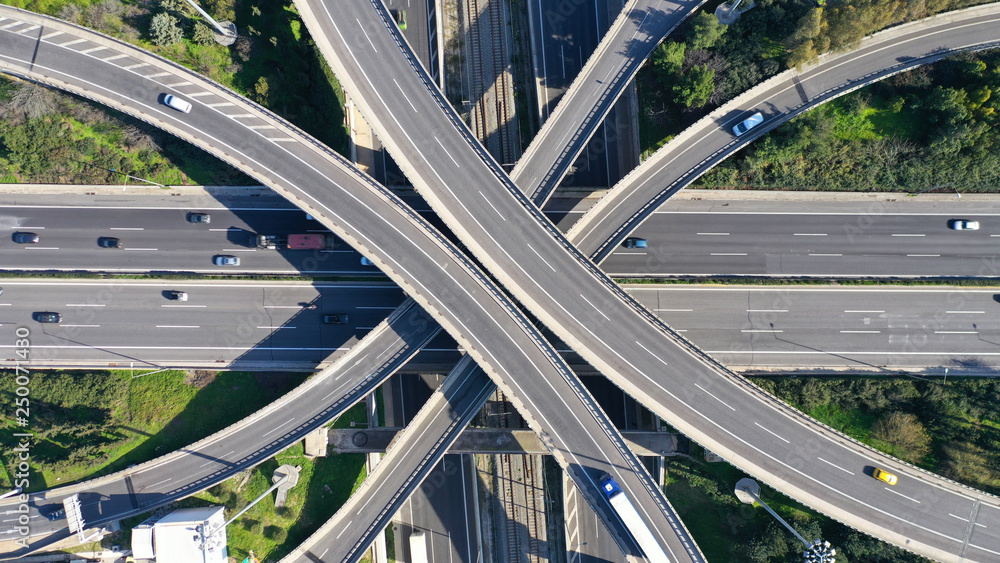Fototapety, obrazy: Aerial drone photo of highway multilevel junction interchange crossing road