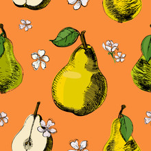 Hand Drawn Sketch Seamless Pattern Of Pears.Vintage Ink Vector Of Different Pears And Flowers Of Pear On Orange Background.Great For Fabrics, Wallpaper, Packaging.
